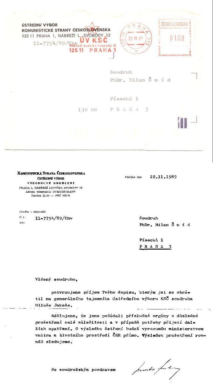 korespondence s ÚV KSČ